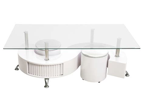 Table Basse Smart Laquee Blanc + 2 Poufs  Table Basse
