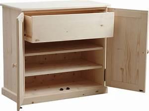 étagère Bois Brut : meuble chaussures 3 tag res 1 tiroir en bois brut ~ Melissatoandfro.com Idées de Décoration