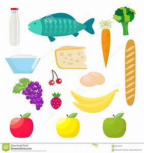 Set Of Healthy Food Products. Fish And Dairy Products ...