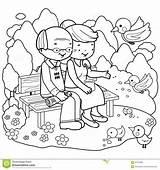 Coloring Couple Colorir Senior Bench Colorare Parque Coloriage Parc Sitting Parco Reading Imagem Desenhos Livre Couples Banco Feeding Pagina Dessin sketch template
