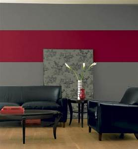 decoration salon peinture rouge With peinture murale gris perle