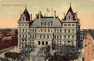 VTG 1913 POSTCARD CAPITOL BUILDING DOWNTOWN ALBANY NEW