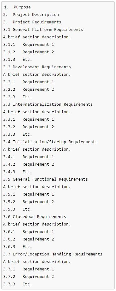 requirements documents definition templates