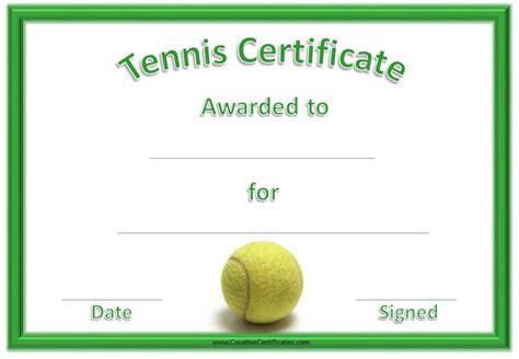 tennis certificate templates customizable printable