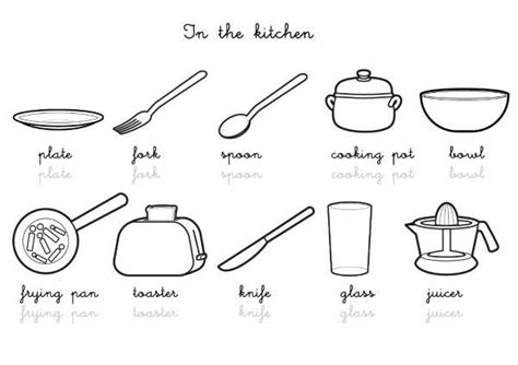 dessin d ustensiles de cuisine coloriage imagier en anglais kitchen vocabulary