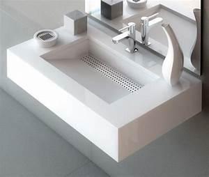 vasque design en 37 exemples pour la salle de bains moderne With salle de bain design avec vasque avec deux robinets