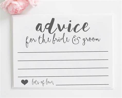 Wedding Advice Cards Printable Advice For The By