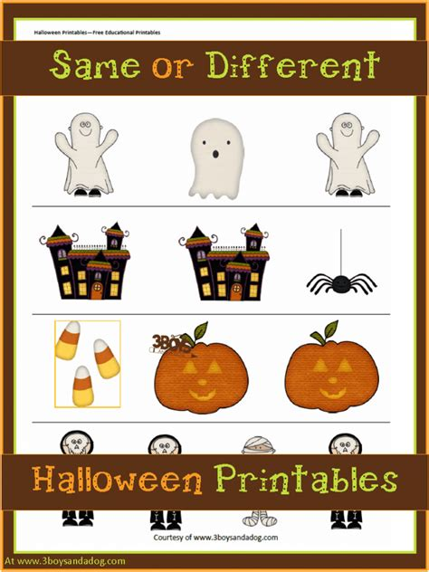 Halloween Printables Same Or Different  3 Boys And A Dog