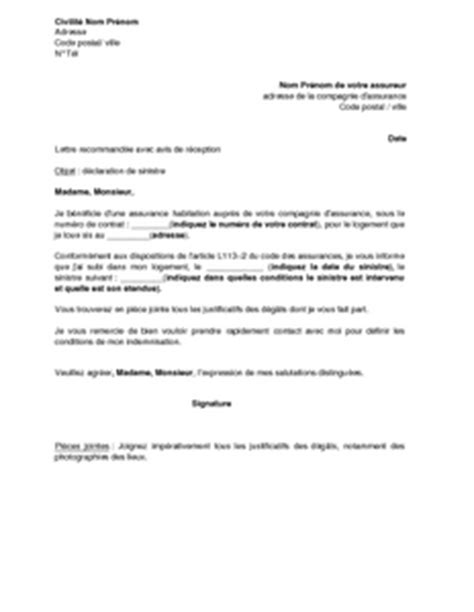 modele lettre declaration sinistre secheresse lettre de d 233 claration de sinistre 224 l assureur mod 232 le de