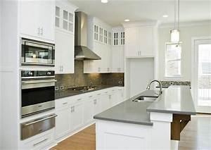 gray quartz countertops + white cabinets | {building ...