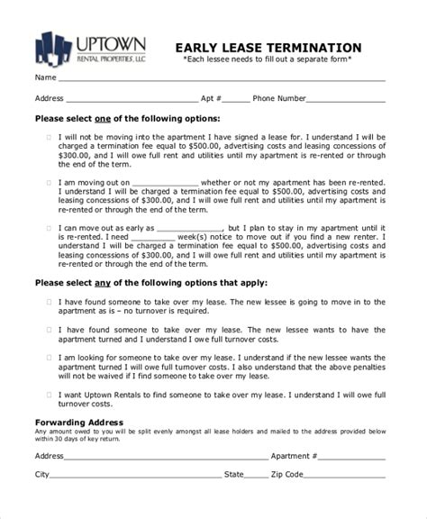 sample lease termination forms