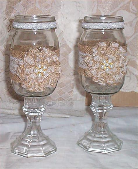 Bride   Groom Burlap Mason Jar Pearls Toasting Mug