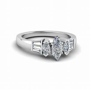 baguette bar and marquise diamond engagement ring in 14k With marquise diamond wedding ring