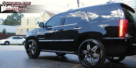 cadillac escalade dub   wheels matte black  red accents