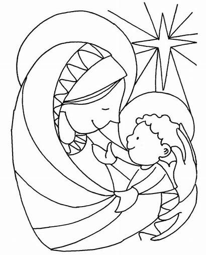 Jesus Coloring Christmas Mary Pages Christian Children