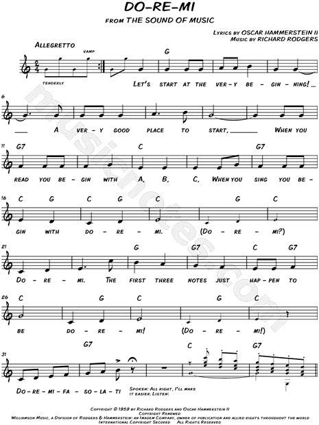 """A concord company international copyright secured. Do-Re-Mi"""" from 'The Sound of Music' Sheet Music (Leadsheet) in C ...   Sheet music, Sound of ..."""