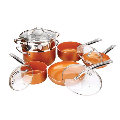 copper  pc  purpose  stick ceramic cookware set  copper  fleet farm