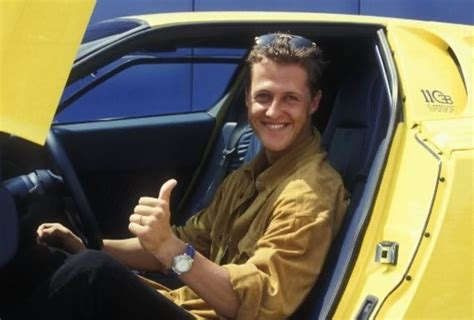 Even as a child, mick only wanted to become a racing driver. (OT) Michael Schumacher with his Bugatti EB110 SS : formula1