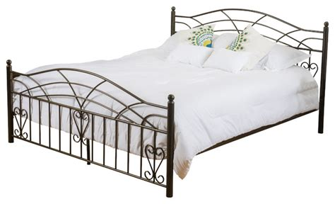 Edsel Cal King Size Iron Bed Frame , Copper Gold Victorian