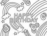 Coloring Birthday Happy Rainbow Swirl Flourish sketch template