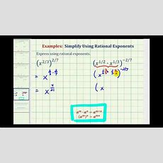Ex Simplify Expressions With Rational Exponents Youtube