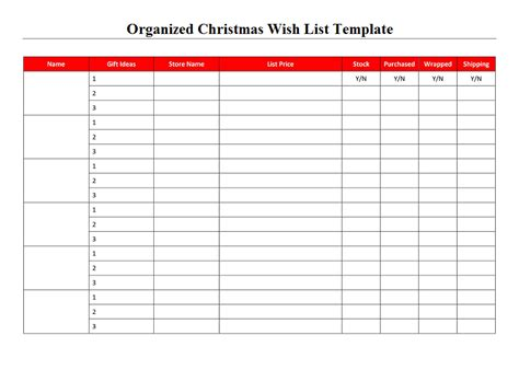 wish list template organized wish list template project management excel templates
