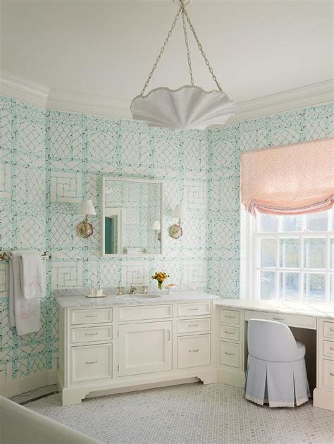 tiffany blue faux bamboo trellis wallcovering