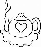 Coloring Teapot Pages Tea Colouring Teacup Printable Drink Template Pots Parties Sheets Clip Sets Valentine Simple Birthday Popular Clipart Cliparts sketch template