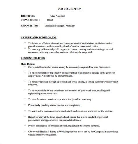 Sles Of Descriptions Templates by 8 Assistant Manager Description Templates Free