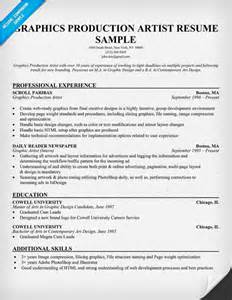 free graphics production artist resume exle