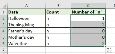 count  character   excel cell   range