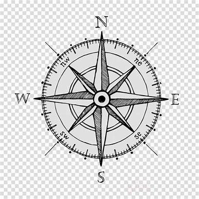 Compass Clipart Drawing Transparent Rose North Drawn