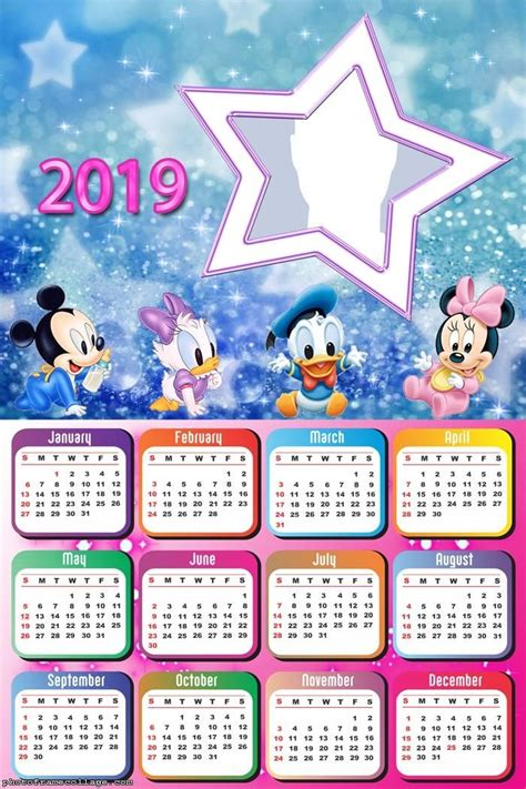 star disney baby calendar  frame photo montage