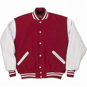 red white standard letterman jacket standard jackets With letters for varsity jackets