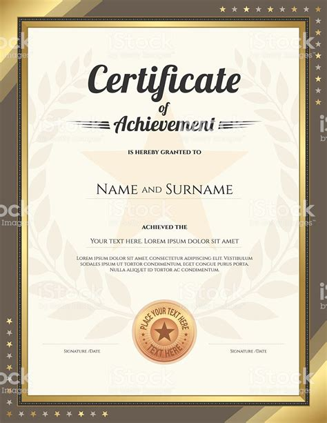 certificate templates with photos portrait certificate of achievement template with gold