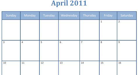 foto de Printable BlankApril 2011 Monthly Calendar