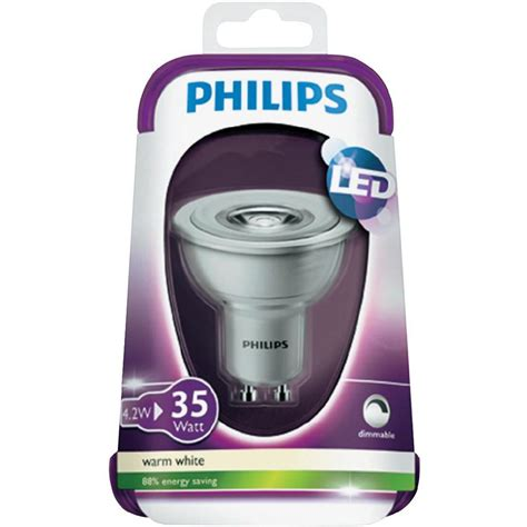 le led gu10 philips led monochrome philips 230 v gu10 4 5 w 35 w warm