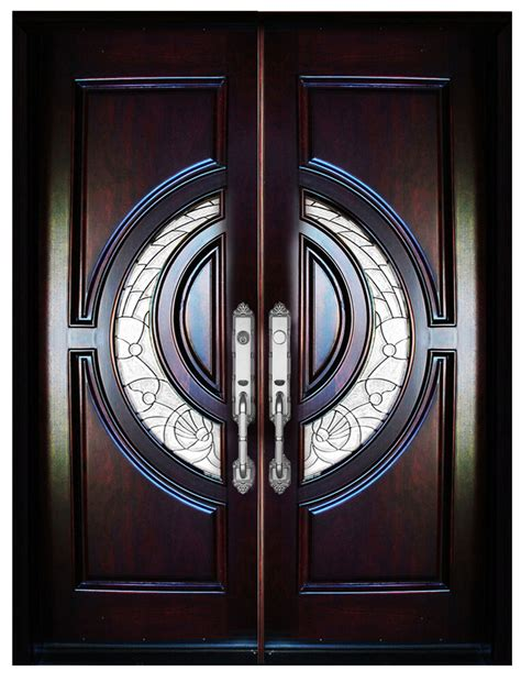 mahogany double exterior front entry wood door