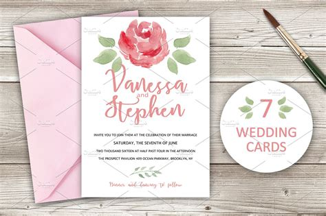 Wedding Invitations Pack 7 cards ~ Wedding Templates