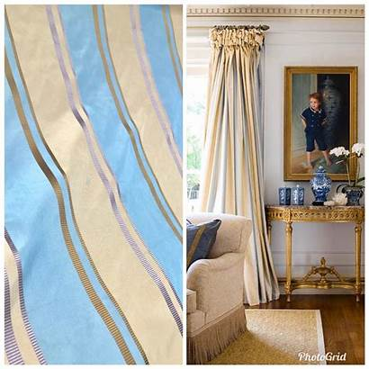 Fabric Silk Taffeta Drapery Decorating Stripes Yard