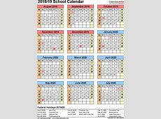 School calendars 20192020 as free printable PDF templates