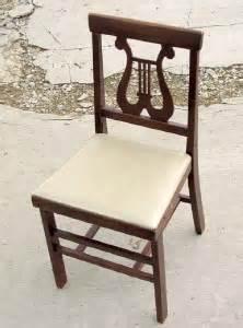 antique folding chair harp back chair vtg wood wooden ebay