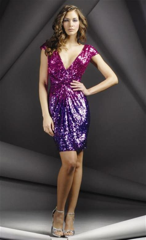 ombre sequined cap sleeve  neck jovani short cocktail