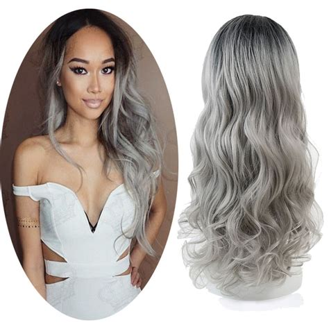 Free Shipping Ombre Grey Body Wave Synthetic Lace Front
