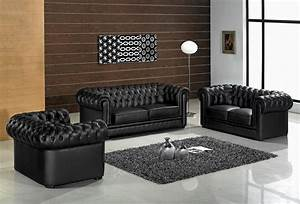 Paris 1 contemporary black leather living room furniture for Set of living room furniture