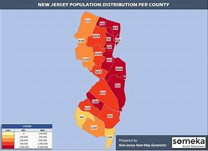 Jersey Map County Population Density Counties Excel