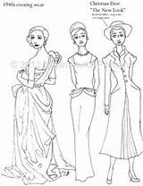 Coloring Pages Flapper Adult History 1920s Books Dresses Evening Template 1940s Dressing Through Pioneer Sketch 1970s Gowns Similar Items Sheets sketch template