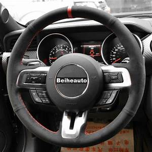 DIY Black Suede Red thread Car Steering Wheel Cover for ...