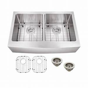 schon all in one apron front stainless steel 33 in double With apron sink sizes
