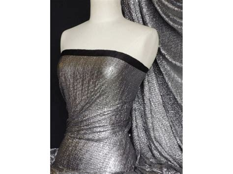 stretch foil bodré crinkle metallic foil stretch fabric silver black